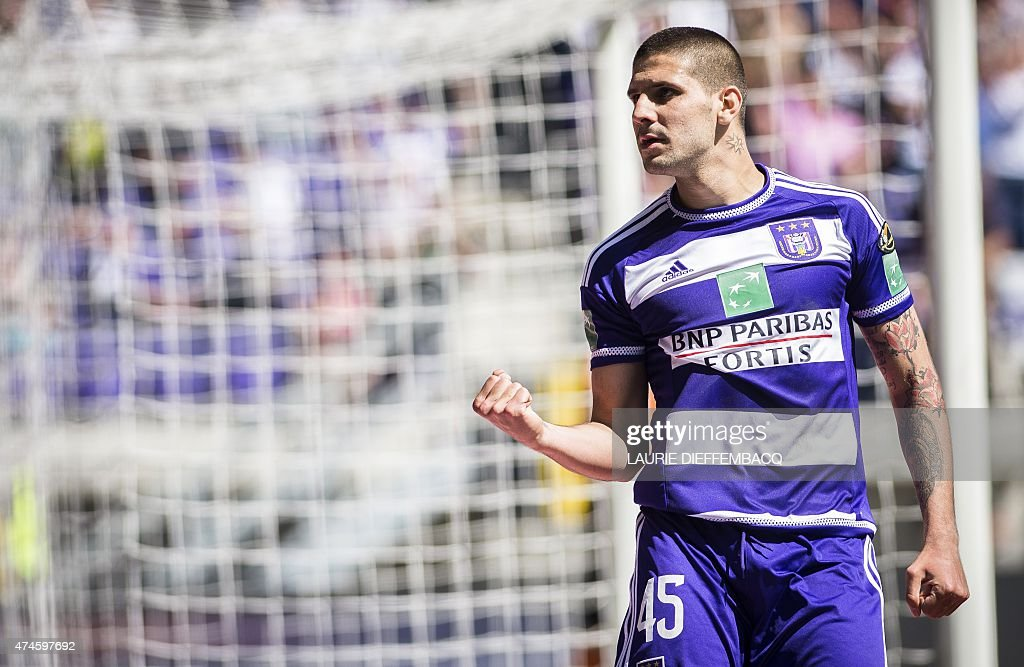 Anderlecht's Alexandar Mitrovic celebrates after scoring the 2-1 goal during the Jupiler Pro League match between RSC Anderlecht and KAA Gent, on May 24, 2015 in Brussels, on the tenth and last day of the Play-off 1. Gent won the championship at last game and Anderlecht is playing for the second or the third place.