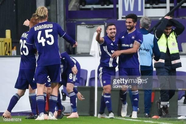 Anderlecht's Belgian forward Zakaria Bakkali celebrates after scoring a goal during the UEFA Europa League Group D firstleg football match between...