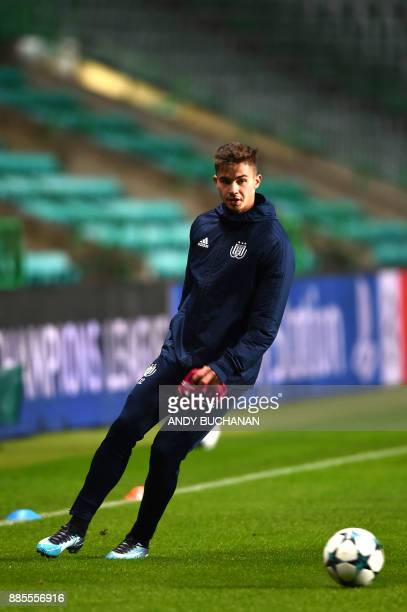 Anderlecht's Belgian midfielder Leander Dendoncker attends a team training session at Celtic Park in Glasgow on December 4 on the eve of the UEFA...