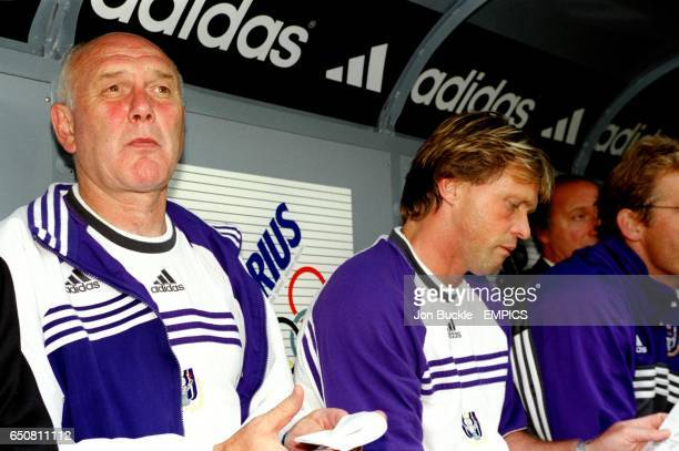 Anderlecht's Coach Aime Anthuenis watches the game from the bench