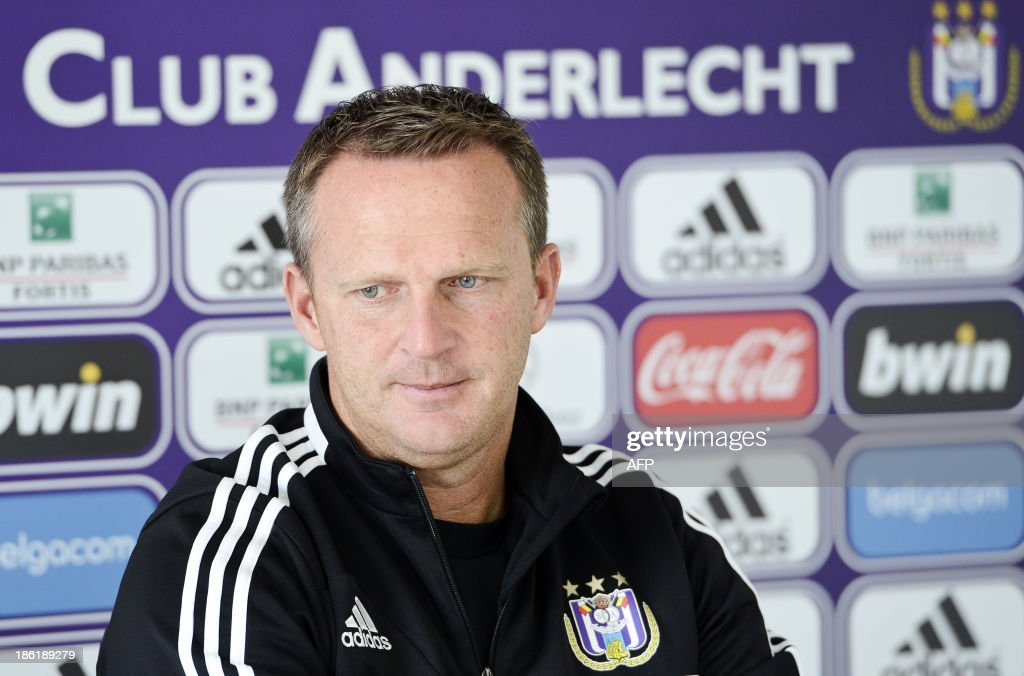 Anderlecht's Dutch coach John van den Brom holds a press conference in Brussels on October 29, 2013.