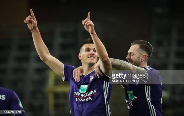 Anderlecht's Ivan Santini and Anderlecht's Peter Zulj celebrate after scoring during the soccer match between RSC Anderlecht and KAS Eupen Sunday 27...