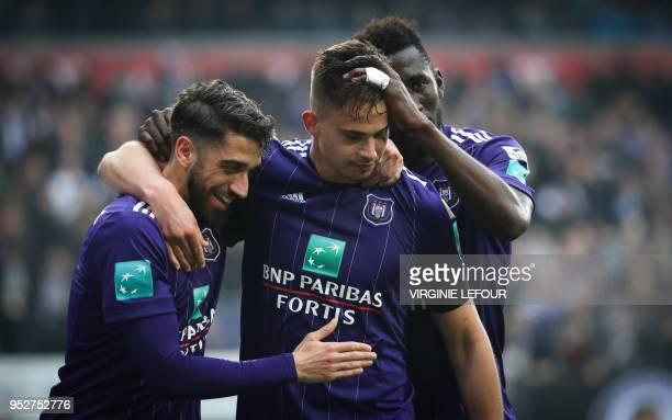 Anderlecht's Josue Sa Anderlecht's Leander Dendoncker and Anderlecht's Silvere Ganvoula celebrate after scoring during the Jupiler Pro League match...