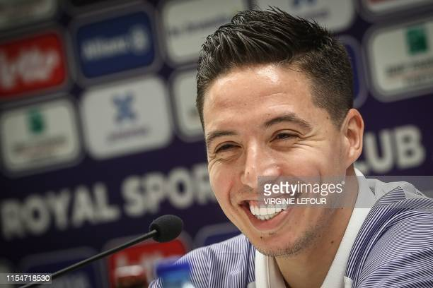 Anderlecht's new player French midfielder Samir Nasri speaks during a press conference in Brussels on July 9, 2019. - The former French international...