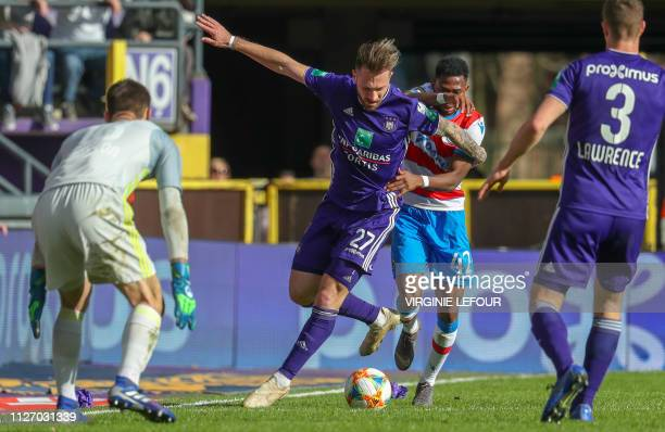 Anderlecht's Peter Zulj and Club Brugge's Emmanuel Bonaventure Dennis fight for the ball during the football match between RSC Anderlecht and Club...