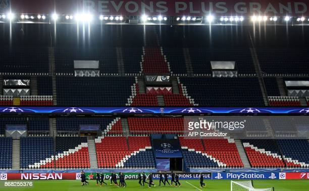TOPSHOT Anderlecht's players take part in a training session at the Parc des Princes stadium in Paris on October 30 on the eve of the UEFA Champions...