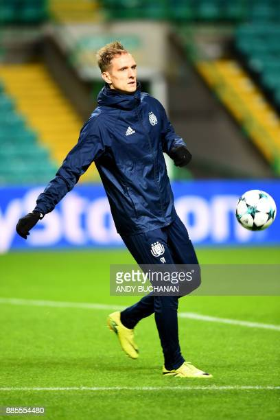 Anderlecht's Polish forward Lukasz Teodorczyk attends a team training session at Celtic Park in Glasgow on December 4 on the eve of the UEFA...