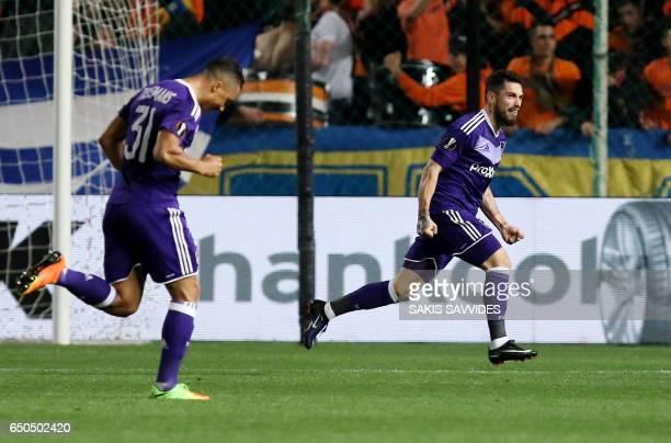 Anderlecht's Romanian midfielder Nicolae Stanciu celebrates scoring his team's opening goal during the Europa League round of 16 football match...