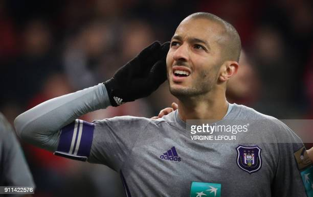 Anderlecht's Sofiane Hanni celebrates after scoring a goal during the Belgium Jupiler Pro League football match between Standard de Liege and RSC...