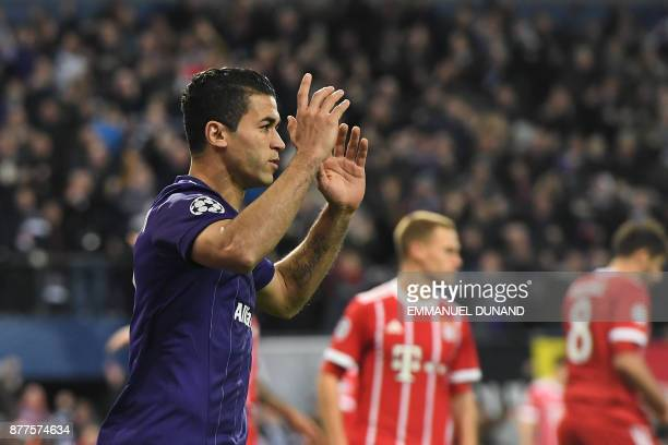 Anderlecht's Tunisian forward Hamdi Harbaoui reacts after his goal was called offside during the UEFA Champions League Group B football match between...