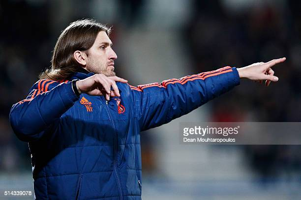 Anderlect Head Coach Nicolas Frutos reacts on the sidelines during the UEFA Youth League Quarterfinal match between Anderlecht and Barcelona held at...