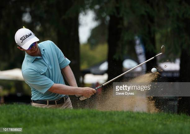 Anders Albertson blasts out of a bunker on the 12th hole during the first round of the WinCo Foods Portland Open on August 16 2018 in Portland Oregon