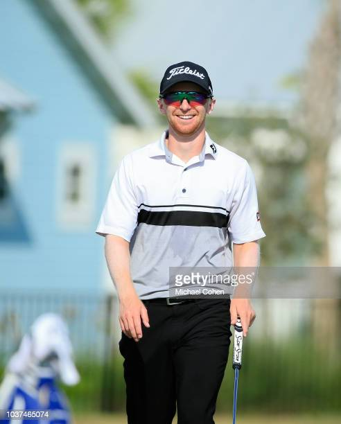 Anders Albertson has a laugh on the seventh green during the second round of the Webcom Tour Championship held at Atlantic Beach Country Club on...