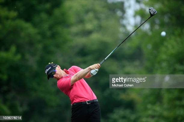 Anders Albertson hits a drive during the third round of the Nationwide Children's Hospital Championship held at The Ohio State University Golf Club...