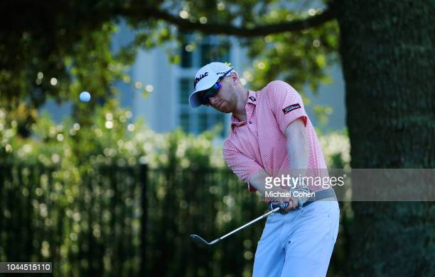 Anders Albertson hits a pitch shot during first round of the Webcom Tour Championship held at Atlantic Beach Country Club on September 20 2018 in...