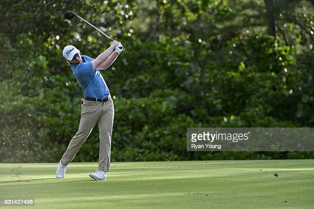 Anders Albertson hits an approach shot on the ninth hole during the third round of The Bahamas Great Exuma Classic at Sandals Emerald Bay Course on...
