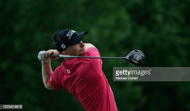 Anders Albertson hits his drive on the ninth hole during the third round of the Nationwide Children's Hospital Championship held at The Ohio State...