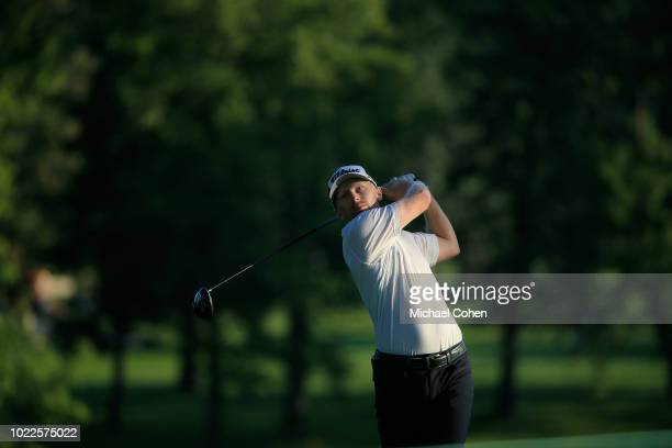 Anders Albertson hits his drive on the second hole during the second round of the Nationwide Children's Hospital Championship held at The Ohio State...