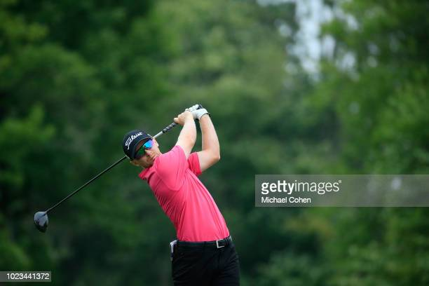 Anders Albertson hits his drive on the sixth hole during the third round of the Nationwide Children's Hospital Championship held at The Ohio State...