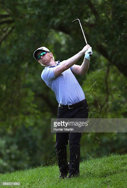 Anders Albertson hits his second shot on the second hole during the third round of the Webcom Tour Price Cutter Charity Championship presented by Dr...