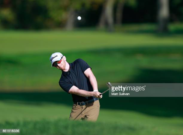 Anders Albertson hits his second shot on the third hole during the second round of the Webcom Tour DAP Championship on September 22 2017 in Beachwood...