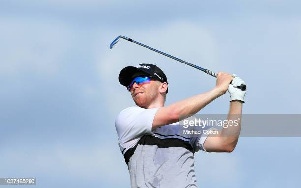 Anders Albertson hits his tee shot on the eighth hole during the second round of the Webcom Tour Championship held at Atlantic Beach Country Club on...