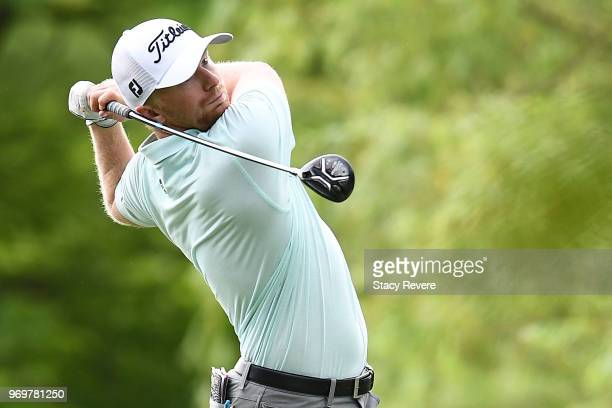 Anders Albertson hits his tee shot on the third hole during the second round of the RustOleum Championship at the Ivanhoe Club on June 8 2018 in...