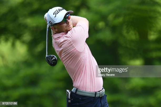 Anders Albertson hits his tee shot on the third hole during the third round of the RustOleum Championship at the Ivanhoe Club on June 9 2018 in...