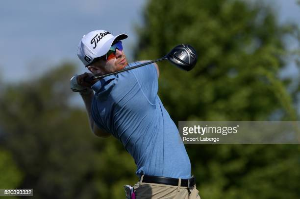 Anders Albertson makes a tee shot on the 14th hole during round two of the Webcom Tour Pinnacle Bank Championship on July 21 2017 at the Indian Creek...