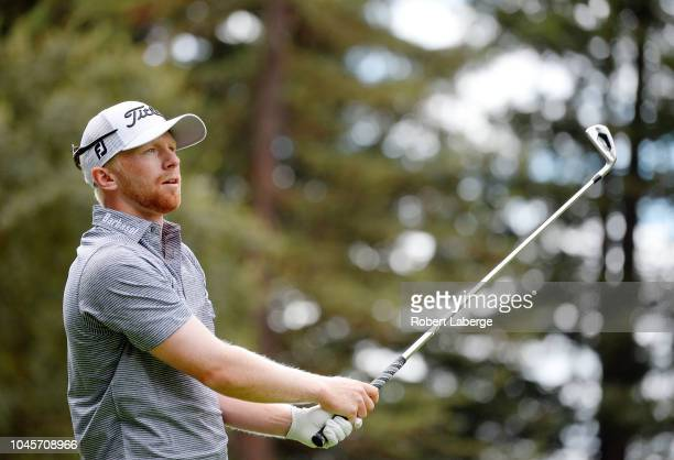 Anders Albertson plays his shot from the 12th tee during round one of the Safeway Open at the North Course of the Silverado Resort and Spa on October...