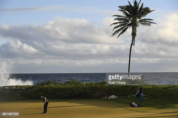 Anders Albertson putts on the 13th hole during the continuation of the third round of The Bahamas Great Exuma Classic at Sandals Emerald Bay Course...