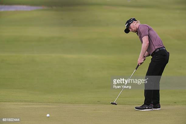Anders Albertson putts on the 18th hole during the final round of The Bahamas Great Exuma Classic at Sandals Emerald Bay Course on January 11 2017 in...