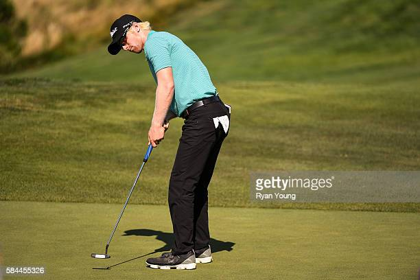 Anders Albertson putts on the seventh green during the first round of the Webcom Tour Ellie Mae Classic at TPC Stonebrae on July 28 2016 in Hayward...