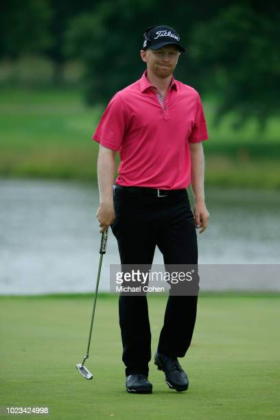 Anders Albertson reacts to his missed birdie put on the eighth green during the third round of the Nationwide Children's Hospital Championship held...