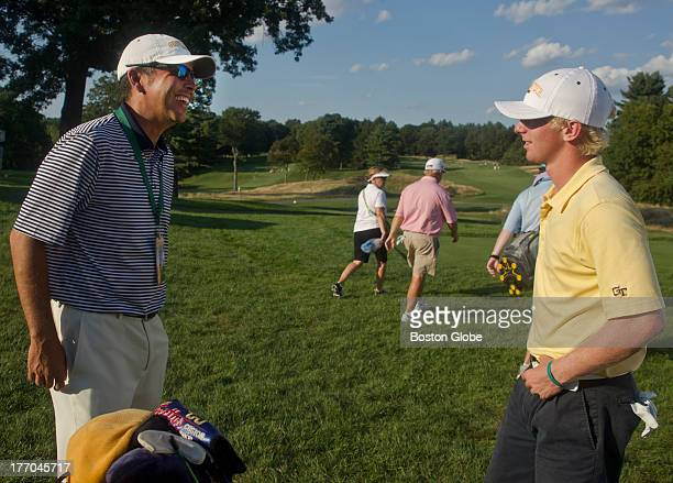 Anders Albertson right from Georgia Tech talks to Brennan Webb an assistant coach at Georgia Tech after finishing his round on the eighth hole during...