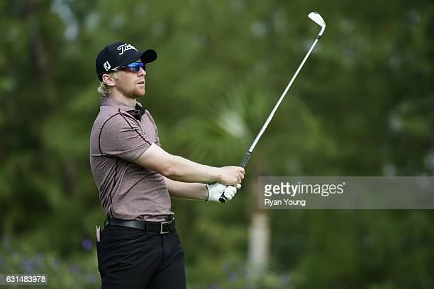 Anders Albertson tees off on the second hole during the final round of The Bahamas Great Exuma Classic at Sandals Emerald Bay Course on January 11...