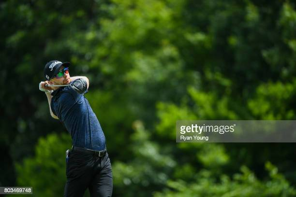 Anders Albertson tees off on the third hole during the first round of the Webcom Tour Nashville Golf Open Benefitting the Snedeker Foundation at...