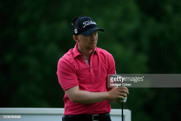Anders Albertson watches his drive during the third round of the Nationwide Children's Hospital Championship held at The Ohio State University Golf...