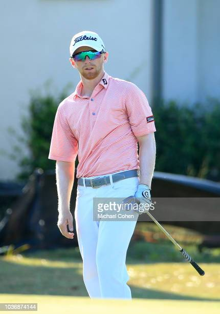 Anders Albertson watches his pitch shot on the seventh green during first round of the Webcom Tour Championship held at Atlantic Beach Country Club...