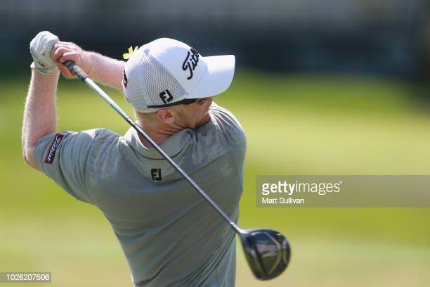 Anders Albertson watches his tee shot on the 16th hole during the final round of the Webcom Tour DAP Championship at Canterbury Golf Club on...
