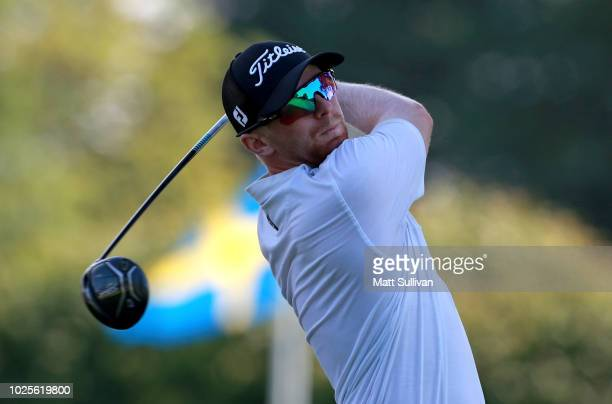 Anders Albertson watches his tee shot on the first hole during the second round of the Webcom Tour DAP Championship at Canterbury Golf Club on August...