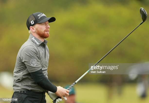Anders Albertson watches his tee shot on the sixth hole during the first round of the Sanderson Farms Championship at the Country Club of Jackson on...