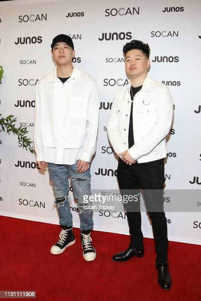 Anders and guest arrive on the red carpet for the 2019 Juno Gala Dinner and Awards at the London Convention Centre on March 16, 2019 in London,...
