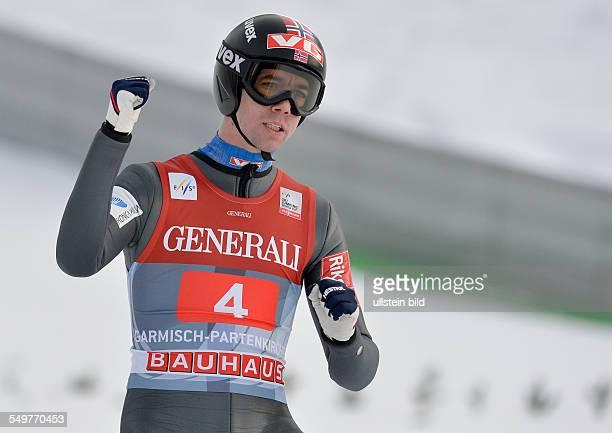 Anders Bardal jubelt waehrend dem FIS Skispringen Weltcup bei der 61 Vierschanzentournee am 1 Januar 2013 in Garmisch Partenkrichen