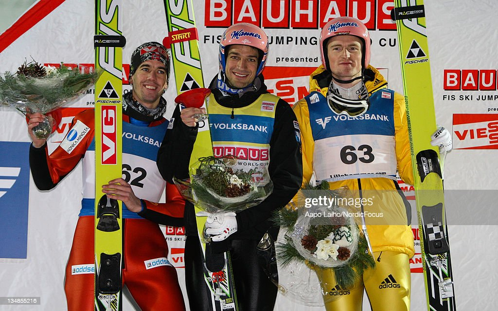 Anders Bardal of Norway, Andreas Kofler of Austria and Severin Freund of Germany pose on the podium after the Men's Ski Jumping HS138 during day two of the FIS World Cup Ski Jumping on December 4, 2011, in Lillehammer, Norway.