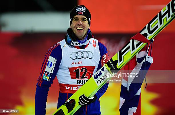 Anders Bardal of Norway celebrates after winning the gold medal in the Men's Team HS134 Large Hill Ski Jumping during the FIS Nordic World Ski...