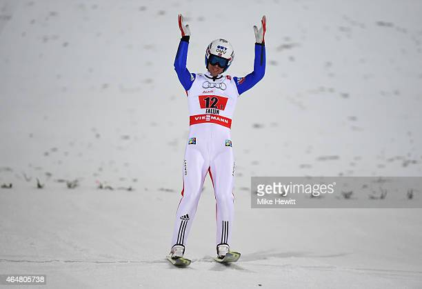 Anders Bardal of Norway celebrates during the Men's Team HS134 Large Hill Ski Jumping during the FIS Nordic World Ski Championships at the Lugnet...