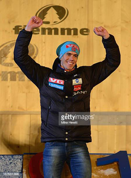 Anders Bardal of Norway celebrates his Gold medal at the medal ceremony for the Men's Ski Jumping HS106 at the FIS Nordic World Ski Championships on...