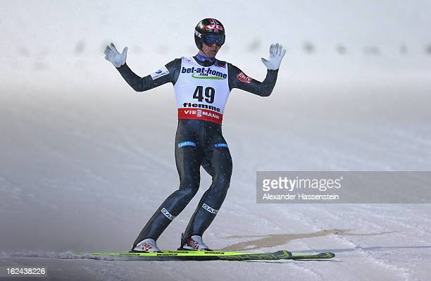 Anders Bardal of Norway celebrates his jump during the Men's Ski Jumping HS106 Final Round at the FIS Nordic World Ski Championships on February 23...