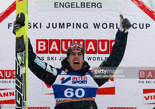 Anders Bardal of Norway celebrates the victory in the Men's Ski Jumping HS137 during day one of the FIS World Cup Ski Jumping on December 17 2011 in...